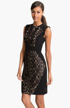 Adrianna Papell Lace Inset Crepe Sheath Dress (Petite) | Nordstrom