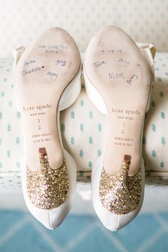 Have your bridesmaids sign the bottom of your shoes in blue ink for your something blue. He Married the Girl Next Door: Katie and Sander's Wedding in Duxbury » Fucci's Photos of Boston | Boston Wedding Photographer