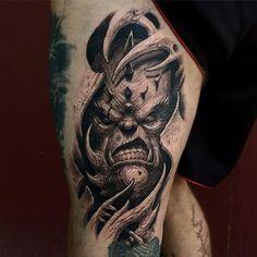 Mixing ripped skin, bioorganic and horror tattoos.