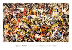 This is an abstract piece of art by Jackson Pollock called Convergence. Jackson Pollock was famous for using a paint splatter technique for his art, you can see lots of texture in the art. Gregory Steele