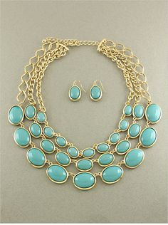 Turquoise Ella Necklace Set   Awesome Selection of Chic Fashion Jewelry   Emma Stine Limited