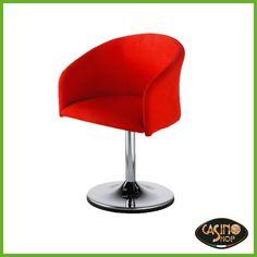 ART.0049 Poltroncina moderna con struttura in metallo fuso e base in alluminio.  Ideale per arredare ambienti residenziali, bar e pub. Poltroncina girevole con basamento in colore acciaio, disponibile in rosso.