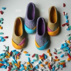 """Women wool felt slippers, felted home shoes, felt slippers, eco slippers – """"Multi"""" Gift for her Handmade felt wool slippers are made from wool felted by hand. These wool home shoes unique design. """"Wool is light as fluff and warm like fire"""". Kids Slippers, Felted Slippers, Felt Kids, Felt Boots, Diy Accessoires, Shoe Pattern, Bride Shoes, How To Make Shoes, Doll Shoes"""
