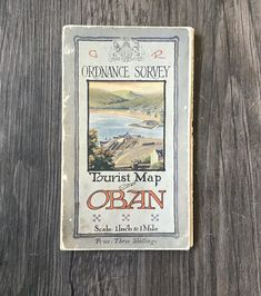 Canvas Backed Map of Oban. Ordnance Survey Maps, Mail Sign, Tourist Map, Map Canvas, Herefordshire, Coat Of Arms, Antiques, Handmade Gifts