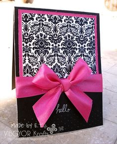 Love the pink and black.now just need to learn to tie a pretty bow! Cute Cards, Diy Cards, Your Cards, Tarjetas Stampin Up, Stampin Up Cards, Creation Deco, Copics, Card Tags, Creative Cards