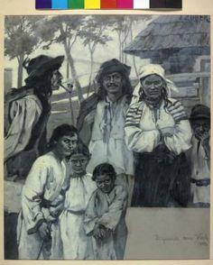 """Zigeunerfamilie aus Wulewa (Vuleva) Öl auf Karton von Julius Zuber, signiert. Vorzeichnung zum """"Kronprinzenwerk"""" (Die österreichisch-ungarische Monarchie in Wort und Bild, Wien 1886–1902), Bd. """"Bukowina"""", 1899, S. 331 Das Gemälde von Julius Zuber basiert auf einer fotografischen Studie von Engelbert Richter, vgl. KWR 20, 13."""