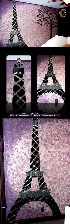 A Night in Paris Theme Room ~ My daughters and I made the Eiffel Tower with the following:  Black Poster Board/ Aluminum Tape Strips/ Silver Glitter/ Acrylic Crystals/ & Hot Glue