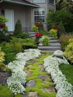 60 Front Yard Garden Path & Walkway Landscaping Ideas - Your private home is your satisfaction and p Front Yard Walkway, Outdoor Walkway, Outdoor Decor, Front Yards, Front Path, Front Steps, Side Yards, Small Backyard Landscaping, Landscaping With Rocks