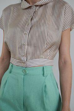 High Waisted Pants / Vintage Pants/ Mint Pants/ High Waist Vintage Pants, Vintage Outfits, Mint Pants, Cropped Top, Crop Shirt, Size Model, High Waist, Trousers, Stripes