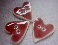Ceramic Buttons Peach Bloom Red Porcelain by susansharpeceramics, £7.00