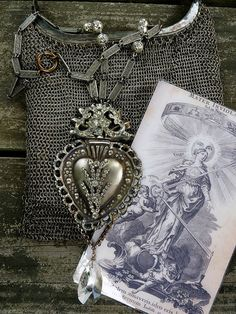 SALE:  Ex Voto Sacred Heart Necklace, Lovely Repousse French Heart with Stunning Paste and Prong Set Rhinestones, by Aliveness
