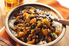 S&W's Apricot, Raisin, Turkey Chili  Ingredients: 1 can S&W® Black Beans, 1 t. vegetable oil, 20oz lean (93%) ground turkey, 1 large onion, 2 large garlic cloves, 1 T. chili powder, 2 t. dried oregano leaves, 1 t. ground cumin, 1/2 t. coarse salt, 1 T. honey, 1 t. hot pepper sauce, 2 c. 50% less sodium, fat-free beef broth (from 1-quart container), 1/3 c. raisins, 1/3 c. chopped dried apricots, 1/3 c. ketchup