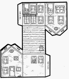 sous mon arbre : Maisons en papier Cardboard Paper, Paper Toys, Paper Crafts, Christmas Card Verses, Christmas Crafts, Art For Kids, Crafts For Kids, 3d Templates, House Template