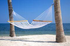 Weiße Hängematte zwischen zwei Palmen am weißen Sandstrand mit blauem Meer und blauem Himmel