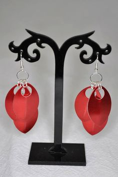 Red Scale Maille Earrings Chainmaille Earrings Bridal