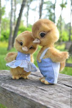 Купить Мальчик с девочкой дружил))) - желтый, уточка, птичка, утята, пара, девочка, плюш, миништофф