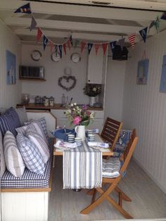 Interior design ideas for our new beach hut Beach Hut Shed, Beach Hut Decor, Beach Huts For Sale, Beach Hut Interior, Summer House Interiors, Caravan Renovation, Beach Shack, Shabby Chic, Beach Cottages