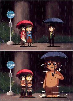 Totoro, Attack On Titan Meme, Attack On Titan Fanart, Attack On Titan Crossover, I Love Anime, Awesome Anime, Eren And Mikasa, Eren X Armin, Harry Potter Anime