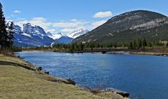 Canmore Mountains above Canmore along Bow River in Bow Valley Provincial Park, Alberta, Canada