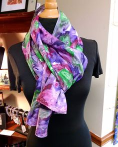 Vineyard - Hand-painted Silk Scarf in Luscious Wine Colors, Larger Size, 13x69…