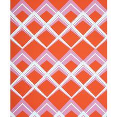 """@Kravet - Brunschwig & Fils """"Palladium on Paper"""" in Orange/Pink Wallpaper"""