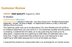 Lightning Cable, high quality by  SWISS-QA. 5 Star Review!
