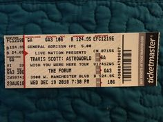 25b3d8ee7e6b Travis Scott Concert Forum Inglewood CA General Admission ticket FLOOR  12/19/18 | eBay