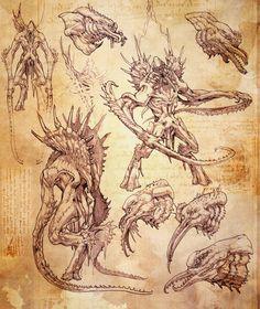 Kraken Revision One Drawings, Stephen Oakley on ArtStation at https://www.artstation.com/artwork/kraken-revision-one-drawings
