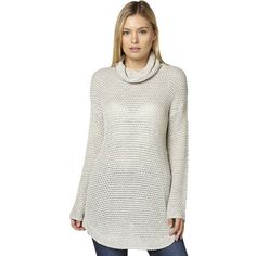 Billabong Farraway Womens Knit (100 AUD) ❤ liked on Polyvore featuring tops, sweaters, knit jumpers, natural, women, knit turtleneck sweater, knit sweater, slouchy knit sweater, long knit sweater and long turtleneck sweater