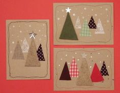 Anna idean kiertää!: 5. päivä: Vinkki joulukortteihin Christmas Card Crafts, Homemade Christmas Cards, Christmas Sewing, Christmas Cards To Make, Christmas Mood, Noel Christmas, Christmas Activities, Christmas Projects, Homemade Cards