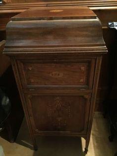 Superb Antique Edwardian Inlaid SatinWood Boxwood Stringing Gramophone CabinetDining Room