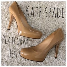 Kate Spade Nikki Powder platform heels. Nude colored platform heels. Size 9.5, heel measures 4.5 inches. In EUC!! Worn a couple times. No PayPal or trades. Bundle in my closet and you will save 10% off your total purchase. Thank you for checking out my closet! I accept offers through the offer button only!!#00410 kate spade Shoes Platforms