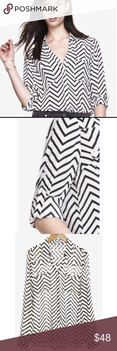 Express Classic Chevron Shirt Express Black & White Chevron Convertible Sleeve Portofino Shirt.  Tucks Perfectly into a pencil skirt or pants for all-season wearability. 100% Polyester Express Tops Button Down Shirts