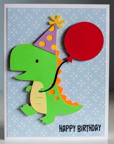 "Dinosaur birthday card using Cricut cartridge ""Create a Critter"" and Pink by Design's stamp set ""Birthday, Birthday."""