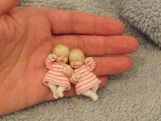 Miniature handmade MINI BABY GIRL TWINS ooak DOLLHOUSE ART DOLL HOUSE 1/12th