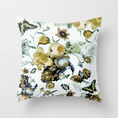 Vintage flowers Throw Pillow by ChrissyInk - $20.00