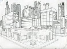 When we draw, we are drawing on a two-dimensional surface. Sometimes, we like to add some realism to our drawings. One way to achieve that is to create an illusion of a three-dimensional space. 2 Point Perspective City, 2 Point Perspective Drawing, Perspective Art, Landscape Architecture Drawing, Architecture Design, Cityscape Drawing, Ap Drawing, Elevation Drawing, Building Drawing