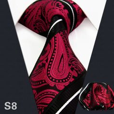 Paisley Stripes Black Red White Mens Necktie Ties Silk Jacquard Woven Wedding Men Ties For Men Casual Dress Brand Men Tie ** Check out this great product.