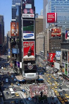 Located at the intersection of Broadway and Seventh Avenue, Times Square is always busy.