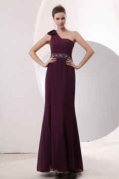Chiffon One-shoulder Prom Gowns - Order Link: http://www.theweddingdresses.com/chiffon-one-shoulder-prom-gowns-twdn2032.html - Embellishments: Beading , Sash , Sequin; Length: Floor Length; Fabric: Chiffon; Waist: Natural - Price: 140.68USD