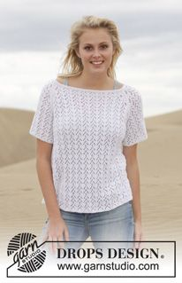 "Knitted DROPS top with lace pattern and raglan in ""Safran"". Size: S - XXXL. ~ DROPS Design"