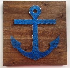 Items similar to Anchor String Art on x Stained Wood – Customizable String Art on Etsy Anchor, beach house art, lake house art Anchor String Art, Diy Canvas Art, House Art, Beach Art, Fun Crafts, Art Projects, Crafty, Quilts, Beach House