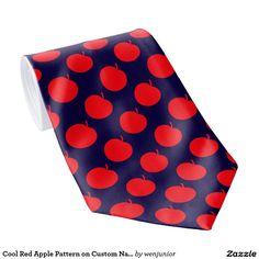 Cool Red Apple Pattern on Custom Navy Blue Tie