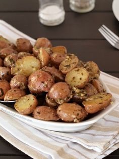 Roasted Pesto Potatoes are a quick, easy side dish using only 3 ingredients . ☀CQ glutenfree