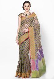 Green Cotton Blend Saree
