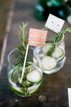 Cucumber cocktails: http://www.stylemepretty.com/little-black-book-blog/2015/03/17/emerald-copper-irish-wedding-inspiration/ | Photography: Jenna Henderson - http://jennahenderson.com/