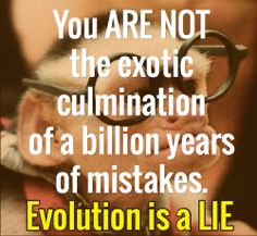 You ARE NOT the exotic culmination of a billion years of mistakes. / Evolution is a LIE