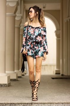 printed romper gladiator sandals