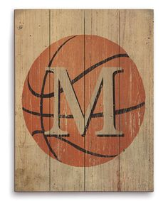 Look what I found on #zulily! Basketball Initial Wall Art #zulilyfinds