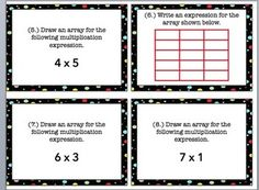 FREE!!!! 3rd Grade Array Task Cards~A set of 24 cards, Common Core Based ~Answer sheet included!